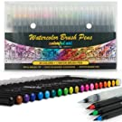 Artists Watercolour Brush Pens Set, 20 Vibrant Colours, Premium Real Soft Brush Tip Paint Markers Plus Water Blending Pen, Perfect for Painting, Colouring Pens, Lettering, Calligraphy, Art & Craft Set