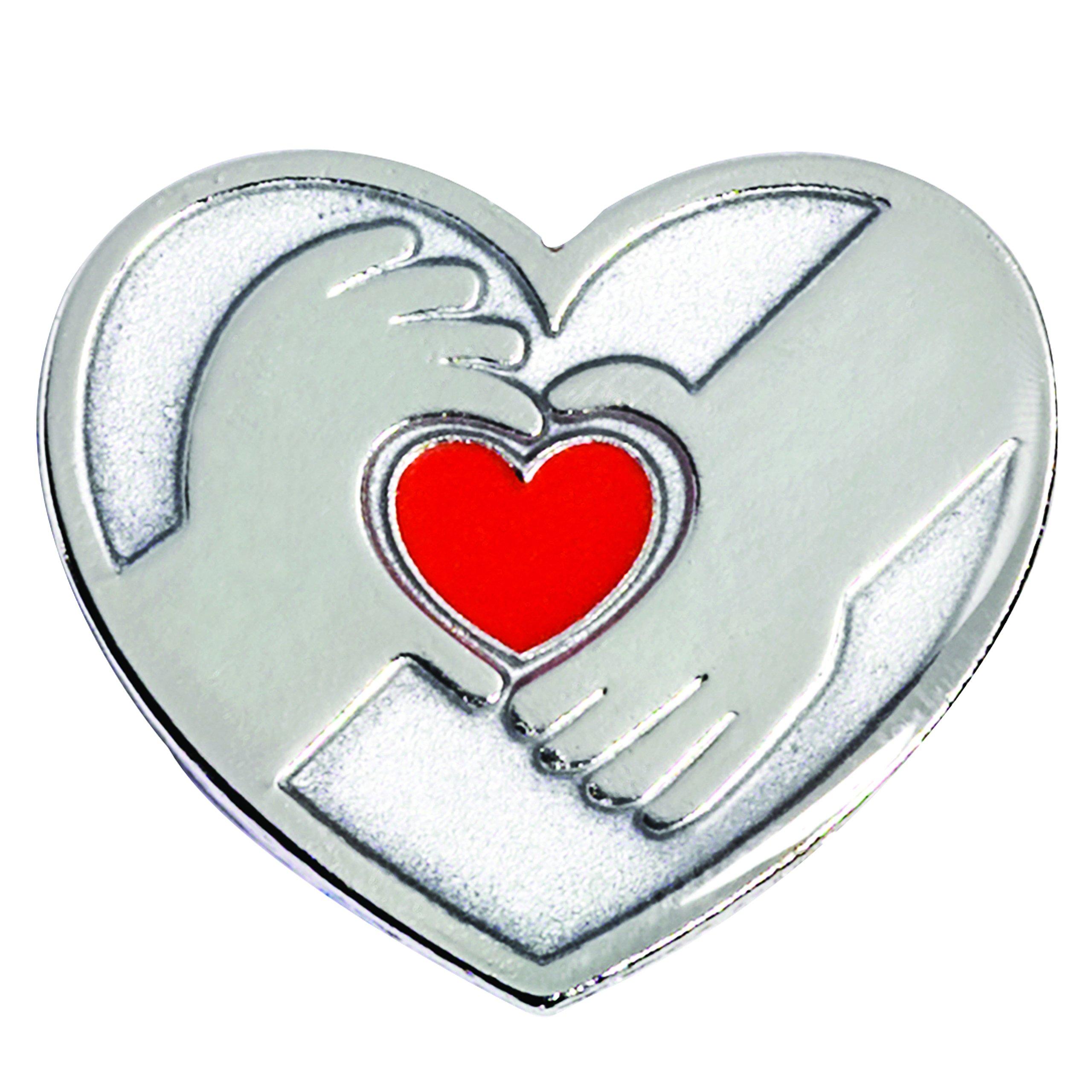 Silver Hands Holding a Red Heart Appreciation Award Lapel Pin, 12 Pins