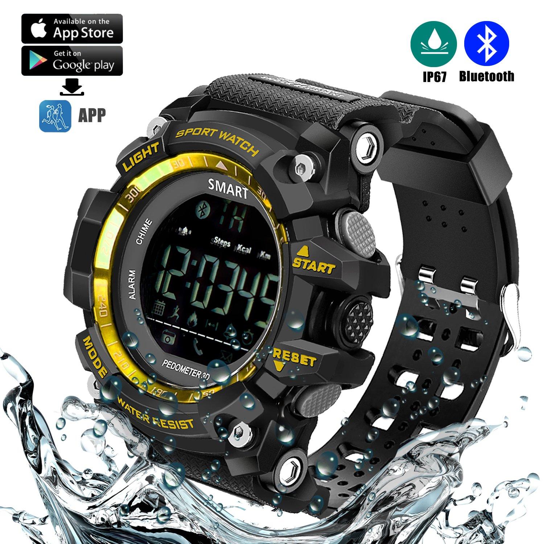 Reloj deportivo inteligente (Podómetro, Entrenamiento Fitness, Tencología IP67 Resistente al agua, control remoto de la cámara, equipamiento para ...