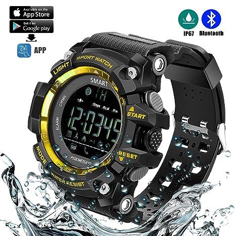 Reloj deportivo inteligente (Podómetro, Entrenamiento Fitness, Tencología IP67 Resistente al agua, control