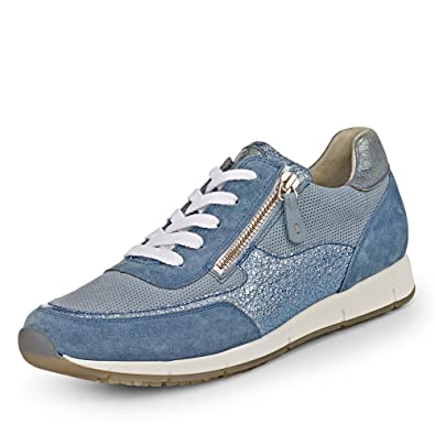 4459-099 Damen Sneaker aus Glattleder herausnehmbare Lederinnensohle, Groesse 4, blau/metallic Paul Green