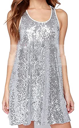 SWORLD Women s Silver Loose Scoop-Neck Sleeveless Sequin Top Sundress Tank  Dress at Amazon Women s Clothing store