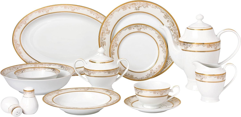 Lorren Home Trends 57 Piece 'Chloe' Bone China Dinnerware Set (Service for 8 People), Gold