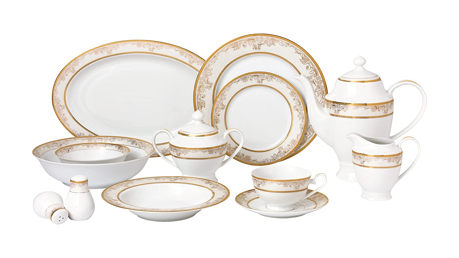 Chloe Gold and White Bone China 57-Piece Dinnerware Set Service for 8