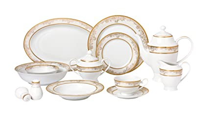 Lorren Home Trends 57 Piece u0027Chloeu0027 Bone China Dinnerware Set (Service for 8  sc 1 st  Amazon.com & Amazon.com | Lorren Home Trends 57 Piece u0027Chloeu0027 Bone China ...