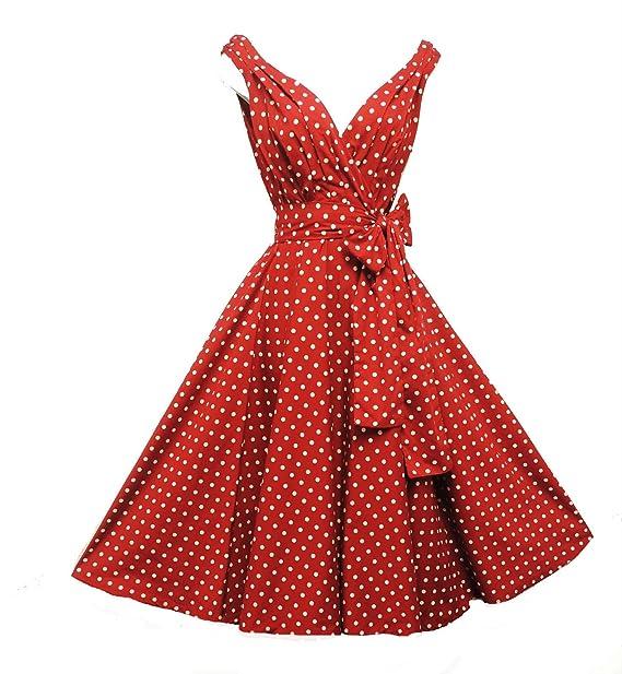 Rosa Rosa Vintage Años 50 Estilo Rojo Lunares Partido Prom Swing Vestido UK 8 – 18