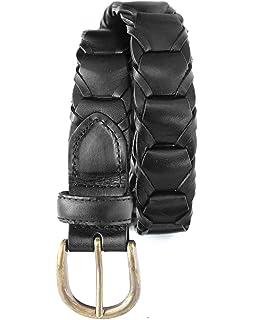 Toneka Men/'s Vintage Full grain Leather Link Belt with Lacing-Black 2633-BLK