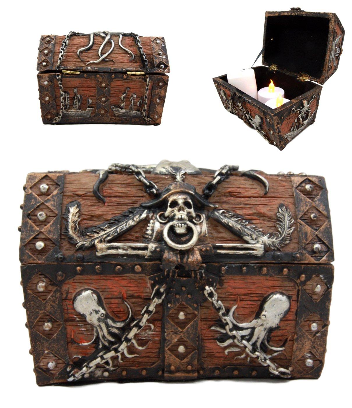 Atlantic Collectibles Caribbean Kraken Octopus Pirate Haunted Chained Skull Treasure Chest Box Jewelry Box Figurine 5''L