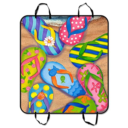 Pleasant Amazon Com Custom Flip Flops Slippers Art Dog Seat Cover Frankydiablos Diy Chair Ideas Frankydiabloscom
