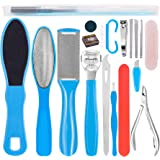 Stainless Steel Pedicure Kit Professional Exfoliation Calluses 17 Pcs Foot File Set For Women And Men At Home Or Travel Or Sa
