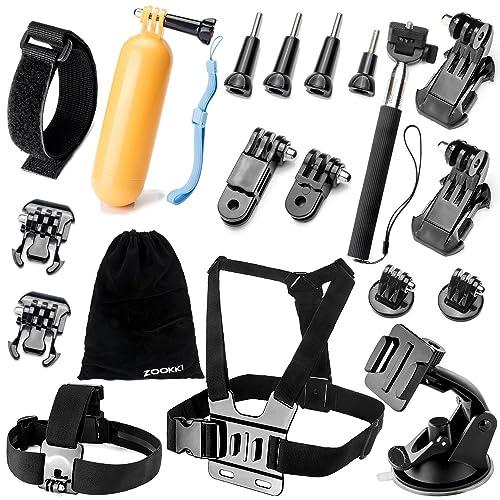 Zookki Accessoires Bundle Kit pour GoPro Hero 543+ 321Noir Argent SJ4000SJ5000Sj6000, Sports de Plein air Kit pour Xiaomi Yi/Lightdow/Wimius/DBPower