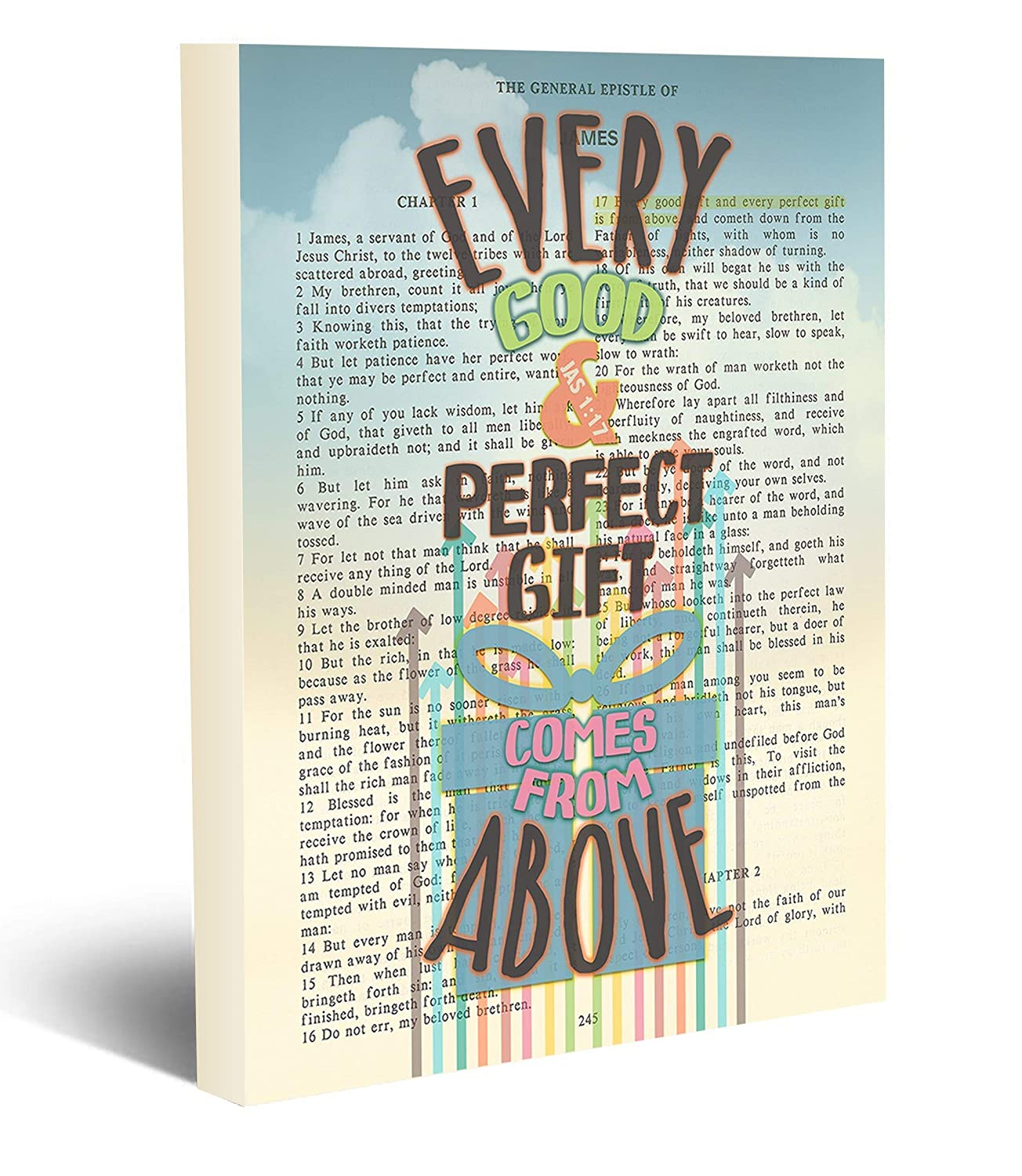 Amazon.com: Every Good and Perfect Gift Comes from Above - James 1:17  Vintage Bible Page Verse Scripture - Christian Wall Art Wrapped Canvas,  Christian Wall and Home Decor, All Sizes: Handmade
