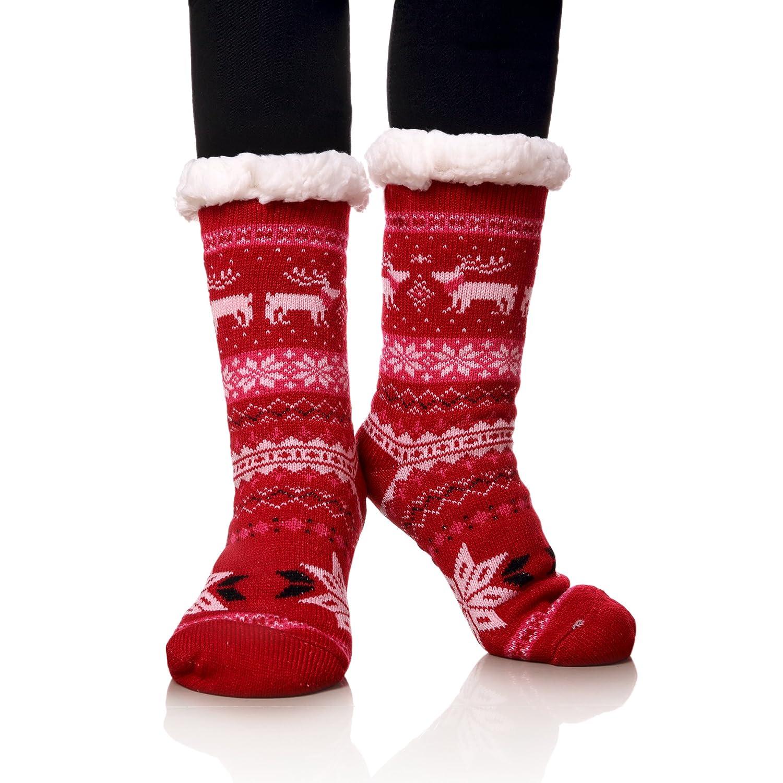 MIUBEAR Super Soft Christmas Deer Slipper Socks for Women Warm Cozy Fuzzy Fleece-lined Winter Socks