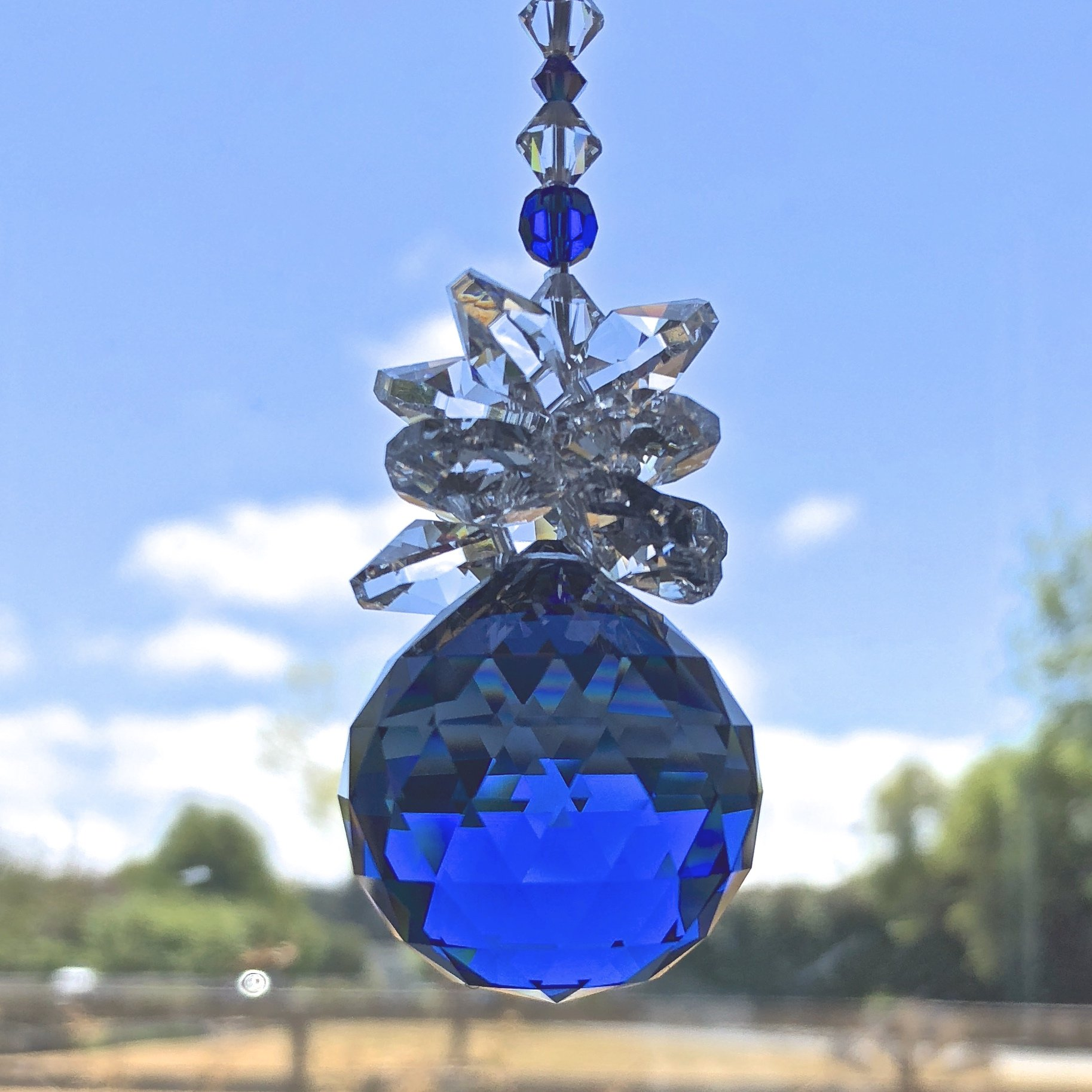 Blue Crystal Ball, Swarovski Sun Catcher, Rear View Mirror, Yard Art, Window Decoration, Glass Mobile, Sapphire Birthday, Ornament, 9018