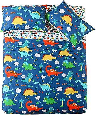 Juego de sábanas para cama doble para niños y niñas, 100% algodón, sábanas para niños, sábanas bajeras para niños, sábanas bajeras suaves y planas con estampado de dinosaurio: Amazon.es: Hogar
