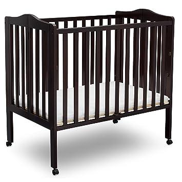 Grey Delta Children Folding Portable Mini Baby Crib with Mattress