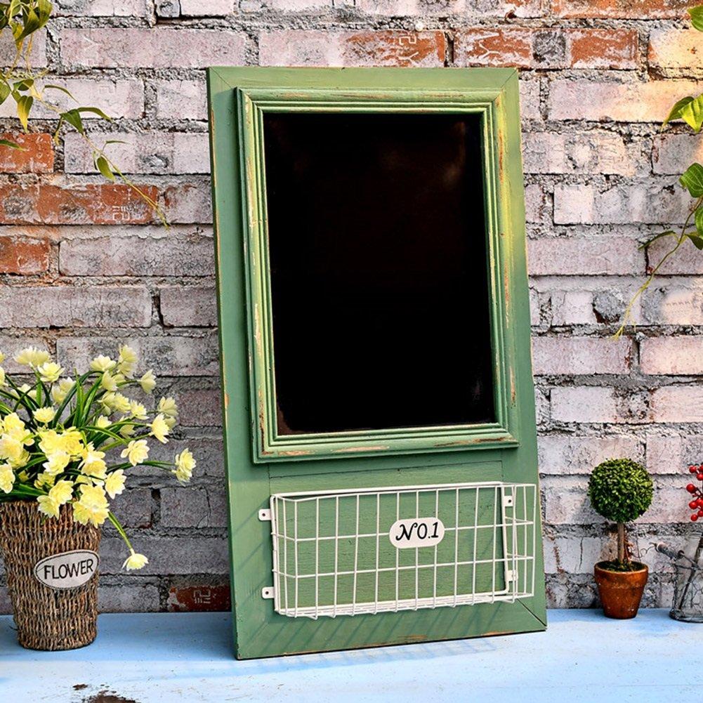フラワースタンド 壁掛けフラワーラックポット棚ディスプレイストレージラック木製+鉄製アメリカンレトロメッセージボードカフェショップ、40 * 1.5 * 70cm、2色 花支架 (色 : 緑) B07DGWM5VZ  緑