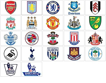 DODOskinz Premier League logos - 22 badges wall decals stickers - Good  Size: 12 cm