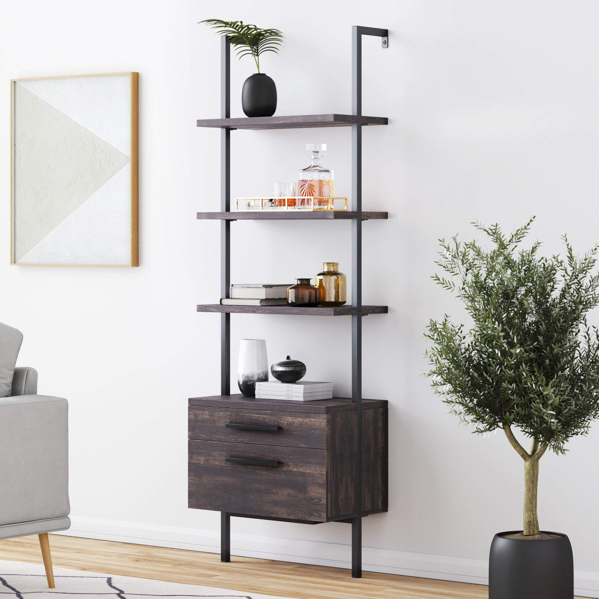 Nathan James 65801 Theo Industrial Bookshelf Wood Drawers and Matte Steel Frame, Nutmeg/Black by Nathan James