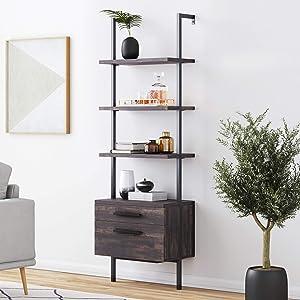 Nathan James 65801 Theo Industrial Bookshelf Wood Drawers and Matte Steel Frame, Nutmeg/Black