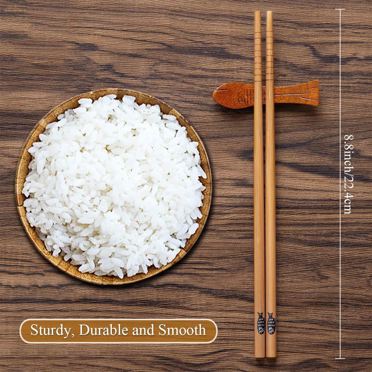 MELLIEX 10 Paar Essst/äbchen Japanisch Bambus Chopsticks Wiederverwendbar Waschbar E/ßst/äbchen Set mit Schwarzer Geschenkbox f/ür Asiatisches Geschirr Fisch