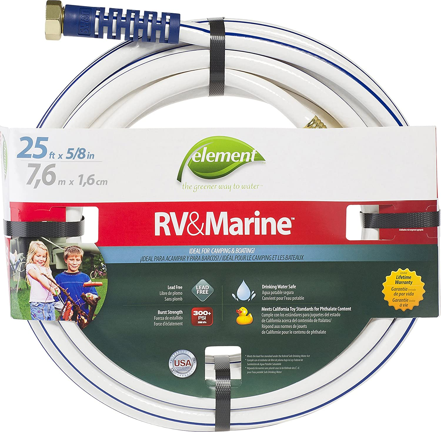 Swan Products ELMRV58025 Element RV & Marine Camping and Boating Water Hose 25 ft. x 5/8 in. , White