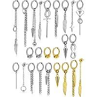 24 Pieces Stainless Steel Huggie Hinged Hoop Earrings Dangle Hoop Earrings Long Chain Pendant Earrings for Women Girls…