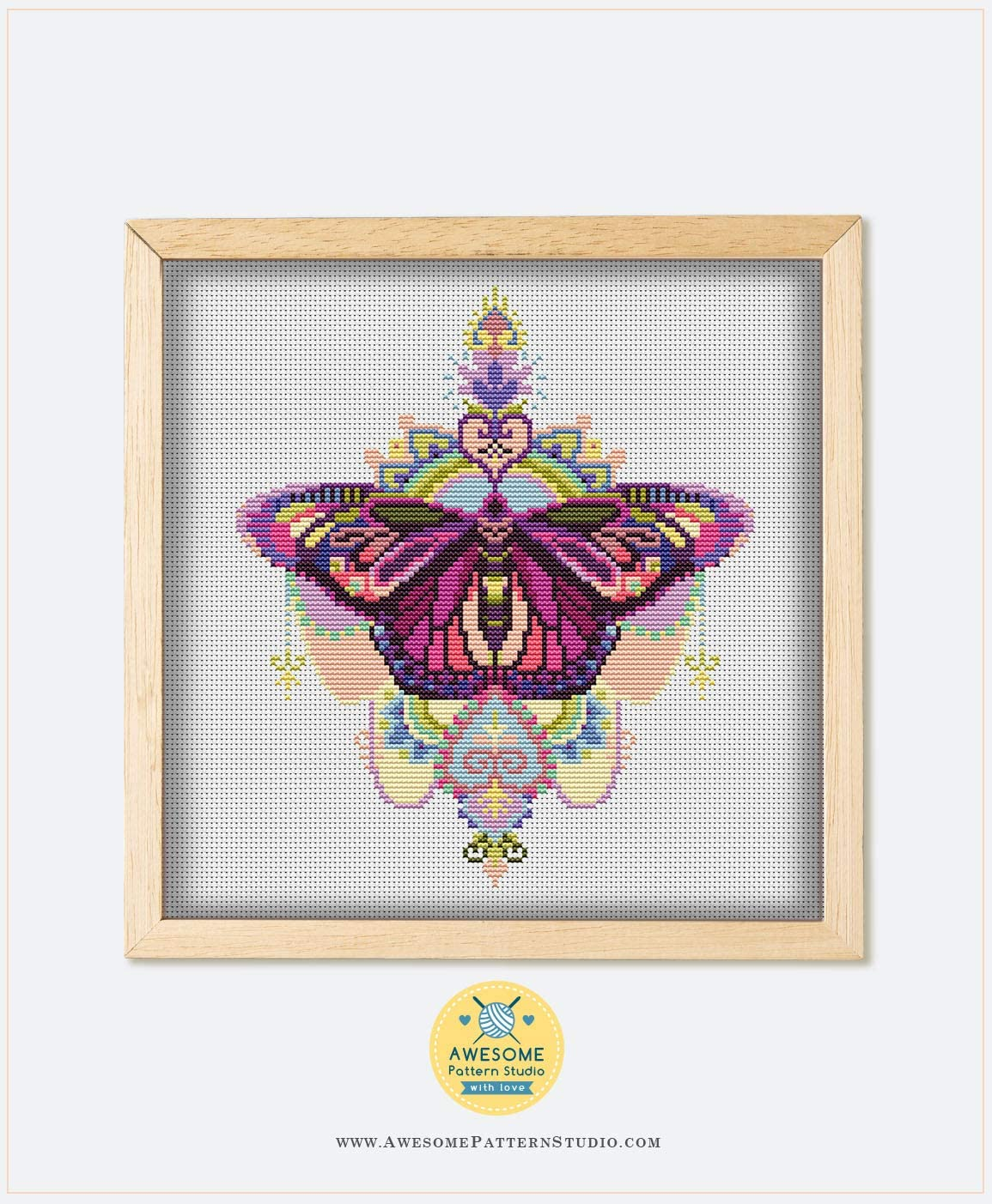 Needles Fabrick and 4 Printed Color Schemes Inside Threads Embroidery Pattern Kit Mandala Butterfly K169 Counted Cross Stitch KIT#2