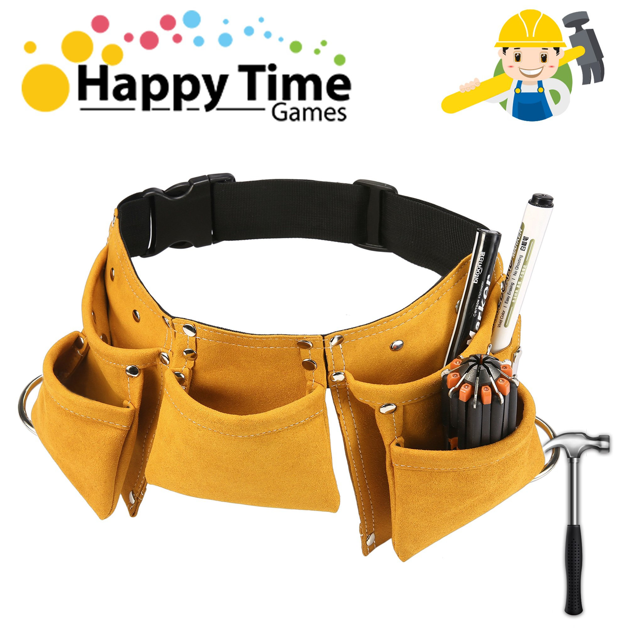 YITOOK Kids Tool Belt Adjustable Children's Carpentry Tool Candy Pouch Heavy Duty Child's Construction Tool Apron for Costumes Dress Up Role Play (Yellow) by YITOOK
