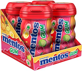 4-Pack Mentos Sugar-Free Chewing Gum, Red Fruit Lime, 50 Piece Bottle