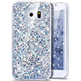 Galaxy S6 Edge Case,Bling Glitter Case, Ukayfe Creative Design Glitter Shiny Quicksand Sparkle Stars and Flowing Liquid Transparent Clear Hard Case Cover for Samsung Galaxy S6 Edge - Silver