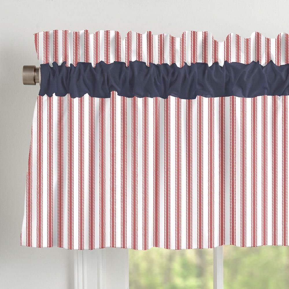 Carousel Designs Navy and Red Stripe Window Valance Rod Pocket by Carousel Designs