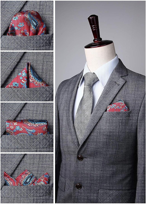 HISDERN 6 Piece Assorted Woven Mens Pocket Square Handkerchief Wedding Gift