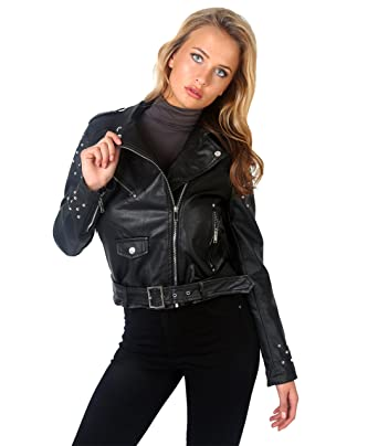 Studded Faux Leather Biker Jacket (Black [5494], US 4 / UK 8