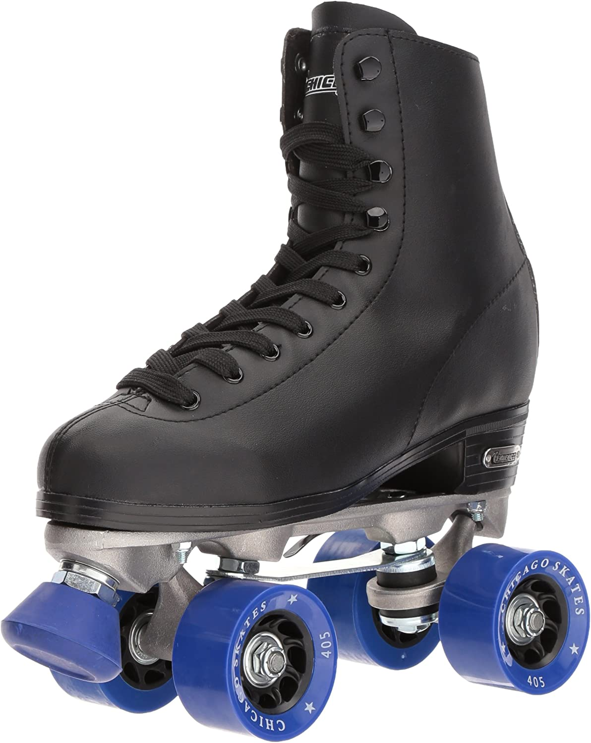 Chicago Men's Classic Roller Skates - Premium Black Quad Rink Skates / UK