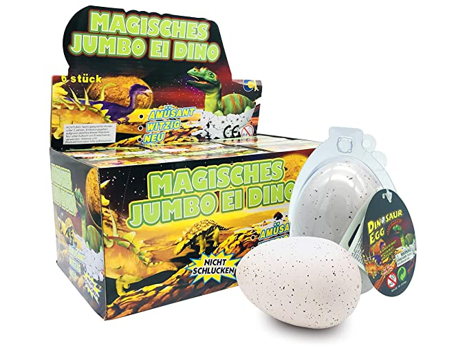 JustRean Toys XXL Dino Schlüpf Ei 11cm in transparenter Kunststoffhülle - Magic Growing Egg Jumbo Dinosaurier Schlüpfei