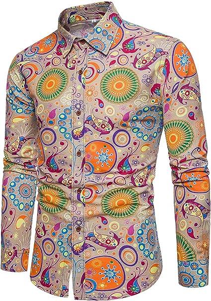 Hombre Camisas para Chic Slim Casual s Otoño Vintage Friends Fit Botón De Manga Larga En Solapa Impreso Camisas Tops Blusas: Amazon.es: Ropa y accesorios