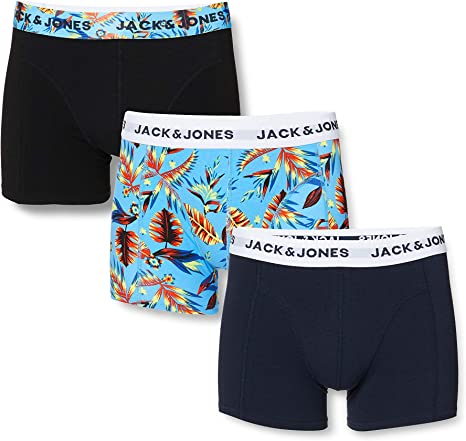 Jack & Jones Jacprint Pre Trunks 3 Pack Bóxer, Navy Blazer, XL ...