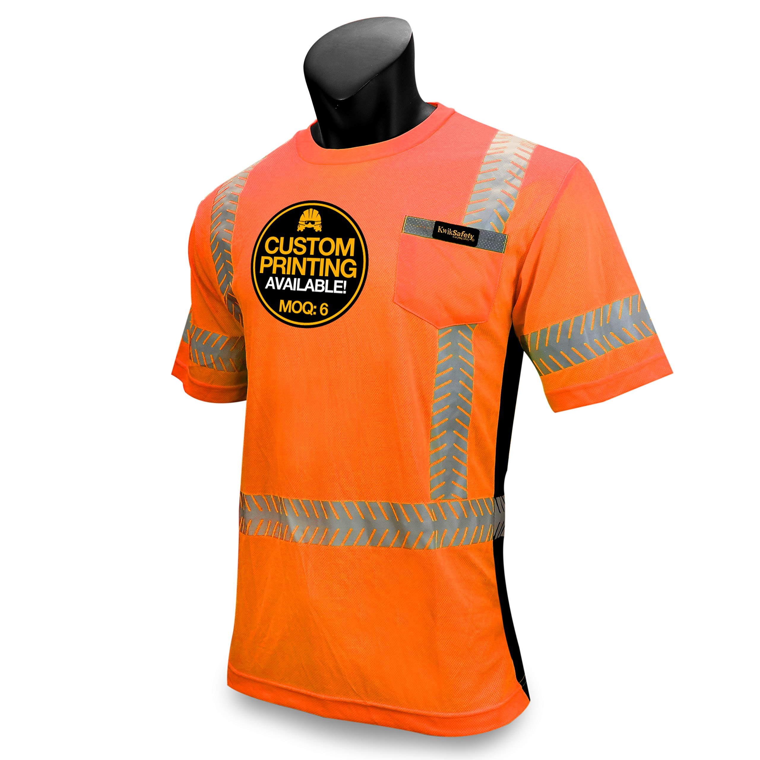 KwikSafety DISCOVERY | Class 2 Short Sleeve Safety Shirt | 360° ANSI Compliant Work Wear | Hi Vis Moisture Wicking Silver Fishbone | Men Women Construction Exercise Security | Orange Large