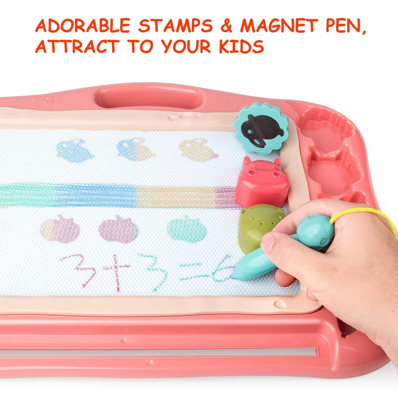 Bleu Gamenote Ardoise Magique Tableau Dessin Magnetique,Cadeau de Jouets pour Tableau magn/étique Educatif avec 3 Timbres de Forme et de Beaux Autocollants
