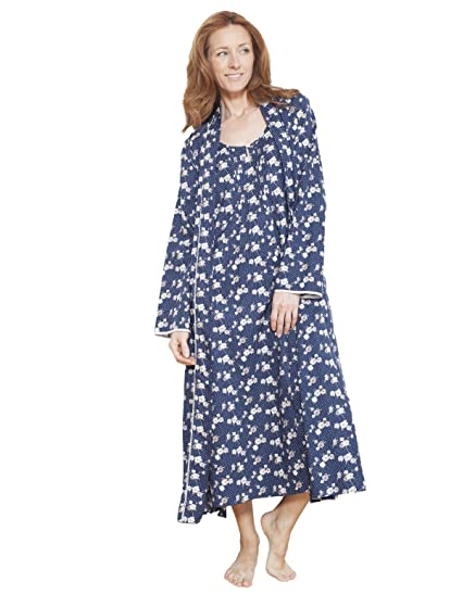 Cyberjammies 1211 Women s Nora Rose Blue Floral Dressing Gown Loungewear  Bath Robe Robe 14 e20dec608