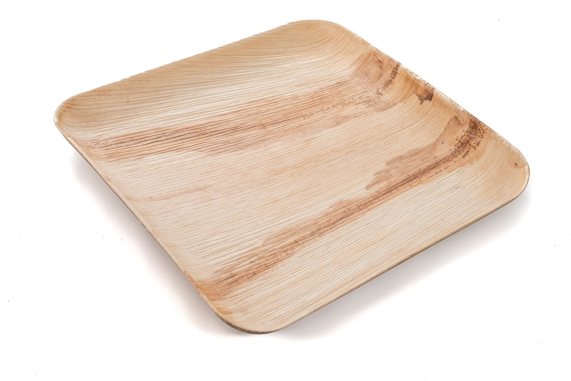 """9"""" Square Palm Leaf Plates - Pack of 25 - Disposable, Compostable, Natural, Tree Free, Sustainable, Eco-Friendly - Fancy Rustic Party Dinnerware and Utensils Like Wood, Bamboo by Clean Earth Goods (Image #2)"""