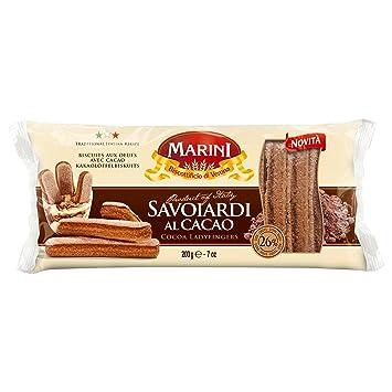 Marini Savoiardi Al Cacao Italian Ladyfingers Cocoa Cookies 200 Grams - Biscottificio di Verona Italiani -
