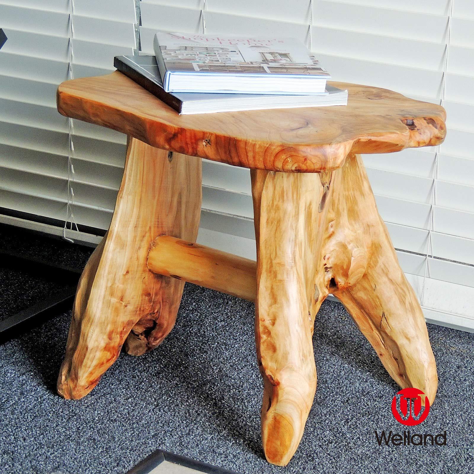 WELLAND Natural Wood Indoor/Outdoor Stool Cedar Garden Bench by WELLAND (Image #5)