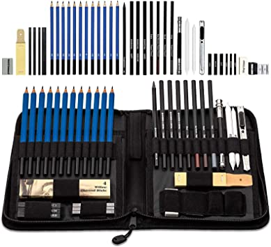 Drawing Pencils And Sketching Set 40 Pieces Complete Classic Art Kit For Artists Included Pencils Charcoal And Comprehensive Drawing Tools Professional Zipper Case With Rare Pop Up Holder Office Products