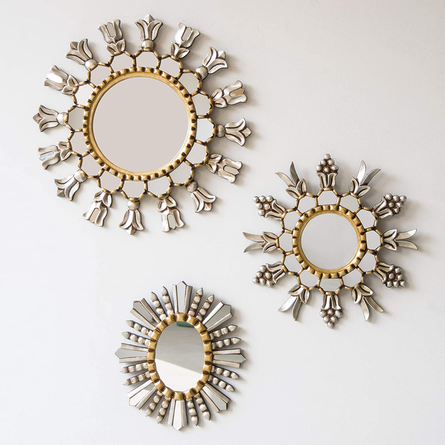 Amazon Com Peruvian Silver Gold Round Mirror Set 3 Collection Sunburst Mirror Wall Decor 17 7 13 77 And 12 Diameter Decorative Accents Mirror For Wall Hand Carved Wood Framed Wall Mirror Treasures Handmade