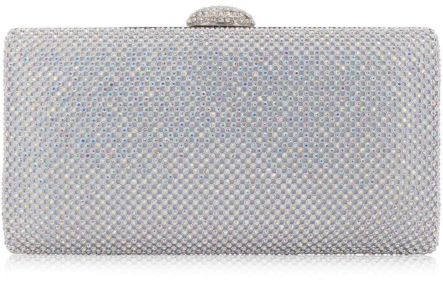 Dexmay Large Rhinestone Crystal Clutch Evening Bag for Cocktail Prom Party Women Clutch Purse AB Silver