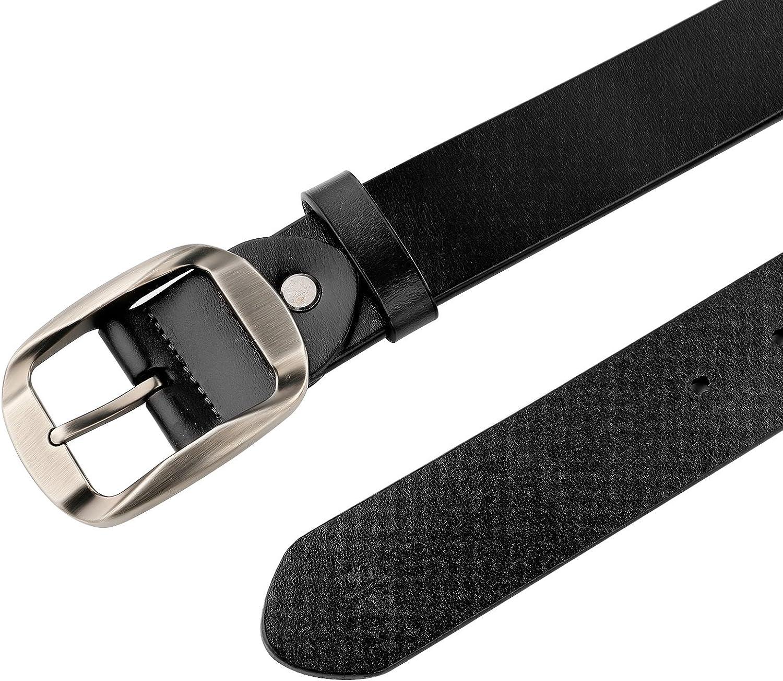 JasGood Mens Designer Western Belt For Men Dress Leather Belt with Grain Leather Strap Pin Buckle