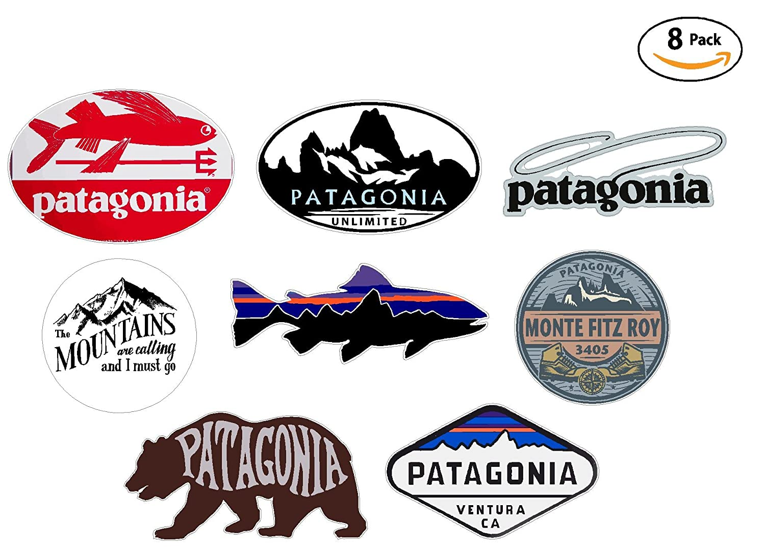 8 sticker set value pack patagonia monte fitz roy perca trucha percichthys trucha stickers travel adventure awaits wanderlust symbol window mountain