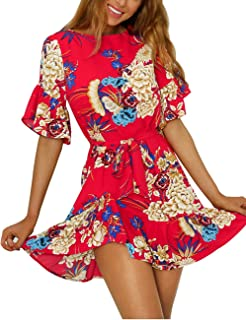 6a0875ac2bd3 ISASSY Women Casual Loose Short Sleeve Dresses Floral Print Ruffle Hem  Casual Mini Dress